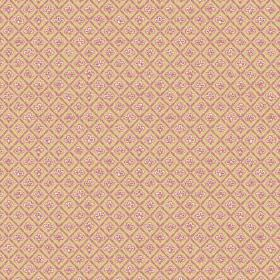 Corella (Cotton) - 1 - Cotton fabric in two different shades of gold, with diagonal squares and small light pink flowers
