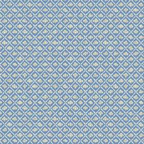 Corella (Cotton) - 2 - Light diagonal lines in both directions with tiny white flowers printed on mid blue cotton fabric