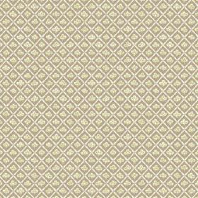 Corella (Cotton) - 3 - Green-grey, off-white and pale yellow patterned cotton fabric