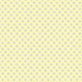 Corella (Cotton) - 4 - Stripes and flowers printed on cotton fabric in shares of light yellow, white and grey