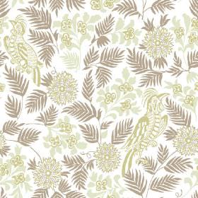 Pardalote (Cotton) - 3 - White cotton fabric patterned with leaves, birds and flowers in light green and brown-grey