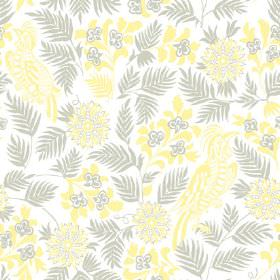 Pardalote (Linen Union) - 4 - Bright yellow flowers and birds with grey leaves printed on fabric made from white linen