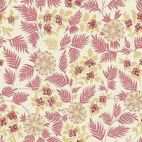 Pardalote Flora (Cotton) - 1 - Simple red-pink leaves with flowers in green and red printed on white cotton fabric
