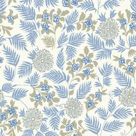 Pardalote Flora (Linen Union) - 2 - Cobalt blue leaves and grey flowers printed on white fabric made from linen