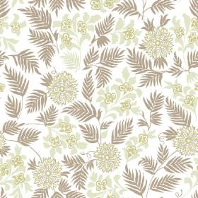 Pardalote Flora (Linen Union) - 3 - Brown leaves and light green flowers in different styles printed on white linen fabric