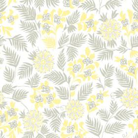 Pardalote Flora (Linen Union) - 4 - White linen fabric with a design of grey and bright yellow leaves and flowers