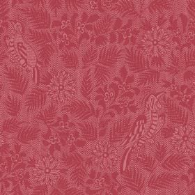 Pardalote Damask (Linen Union) - 1 - Dark red leaves, flowers and birds printed on a pink-red linen fabric background