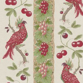Parrots (Cotton) - 1 - Cotton fabric separated into stripes, each filled with images of leaves, exotic birds, grapes and berries