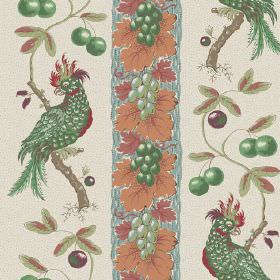 Parrots (Cotton) - 2 - Emerald green birds and berries printed in vertical rows, between orange leaves and grapes, on cotton fabric