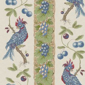 Parrots (Cotton) - 3 - Blue and green bird, leaf and berry printed cotton fabric