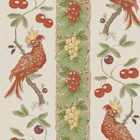 Parrots (Cotton) - 4 - Cotton fabric with a design of exotic birds, leaves, grapes and berries in shades of green, yellow and burnt orange