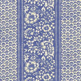 Pasha (Linen Union) - 1 - Linen fabric in bright blue and off-white, which is covered in flowers and small arcs
