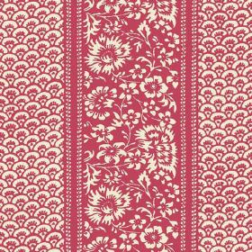 Pasha (Cotton) - 10 - A repeated pattern of small arcs, with large flowers, printed on cotton fabric in red and cream