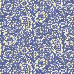 Pasha Allover (Linen Union) - 1 - Royal blue linen fabric printed with various white flowers