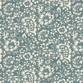 Pasha Allover (Linen Union) - 2 - Dusky teal coloured linen fabric as a background for a white floral pattern