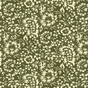 Pasha Allover (Linen Union) - 3 - Olive green and pale yellow floral print linen fabric