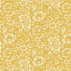 Pasha Allover (Linen Union) - 4 - Mustard yellow linen fabric printed with a pattern of white flowers