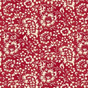 Pasha Allover (Linen Union) - 5 - Deep crimson linen fabric with a design of flowers in white