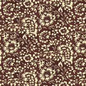 Pasha Allover (Linen Union) - 6 - Very light yellow florals printed on dark brown linen fabric