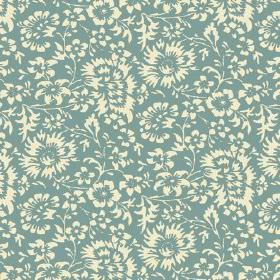 Pasha Allover (Linen Union) - 7 - Linen fabric with a floral design in cream and very pale blue-turquoise
