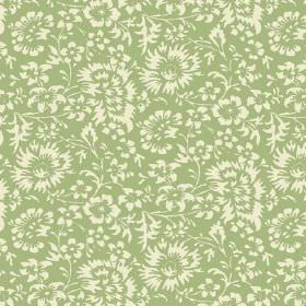 Pasha Allover (Linen Union) - 8 - Fabric made from apple green linen, printed with a pattern of flowers in cream