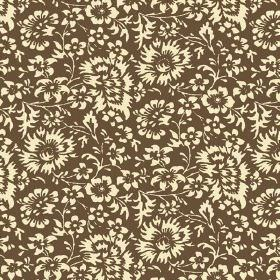 Pasha Allover (Linen Union) - 9 - Various different flowers in pale yellow against a brown linen fabric background