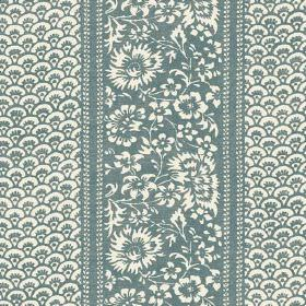 Pasha (Cotton) - 2 - Teal green and cream coloured cotton fabric with a small repeated pattern between stripes of flowers