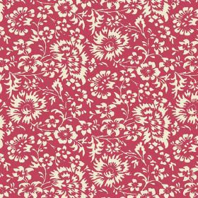 Pasha Allover (Linen Union) - 10 - Fairly large off-white flowers against a red linen fabric background