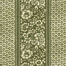Pasha (Linen Union) - 3 - Flowers and arcs in olive green and pale yellow-cream printed on linen fabric