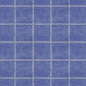 Pasha Check (Cotton) - 1 - Bright blue fabric patterned with white horizontal and vertical dotted lines