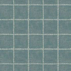 Pasha Check (Cotton) - 2 - Dusky blue cotton fabric with widely spaced checks of dotted white lines