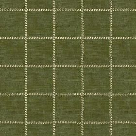 Pasha Check (Linen Union) - 3 - A large grid of pale cream-yellow against olive green coloured linen fabric