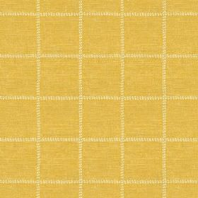 Pasha Check (Linen Union) - 4 - Mustard yellow linen fabric with a large grid of pale yellow dotted lines