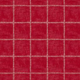Pasha Check (Linen Union) - 5 - Fabric made from crimson coloured linen, with a design of widely spaced dotted checks in white