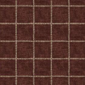 Pasha Check (Linen Union) - 6 - Rows of dotted lines in cream creating a grid against dark brown linen fabric