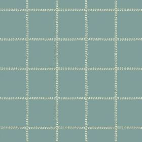 Pasha Check (Linen Union) - 7 - Light blue linen fabric checked with dotted lines of cream