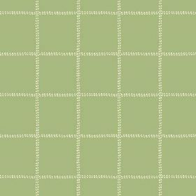 Pasha Check (Cotton) - 8 - Light green cotton fabric with a widely spaced grid of cream coloured dotted lines