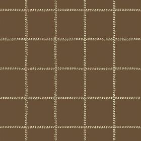 Pasha Check (Linen Union) - 9 - Linen fabric in a plain brown colour, with a grid made up of dotted pale yellow lines