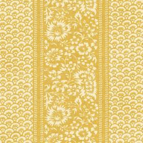 Pasha (Linen Union) - 4 - Linen fabric with a repeated pattern of flowers and fan-shaped arcs in shades of pale cream and mustard yellow