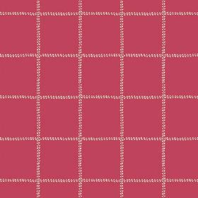 Pasha Check (Linen Union) - 10 - Widely spaced dotted white checks on a red-pink linen fabric