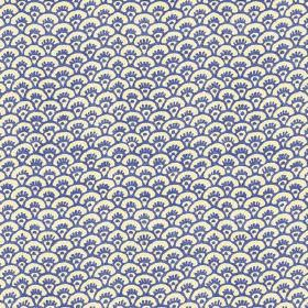 Pasha Fan (Linen Union) - 1 - Linen fabric featuring a design of bright blue arcs over a white background