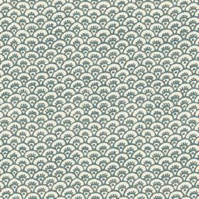 Pasha Fan (Cotton) - 2 - Fan shaped arcs in dusky blue-teal printed on white cotton fabric