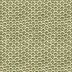 Pasha Fan (Linen Union) - 3 - Rows of tiny olive green fan shapes against a pale yellow linen fabric background