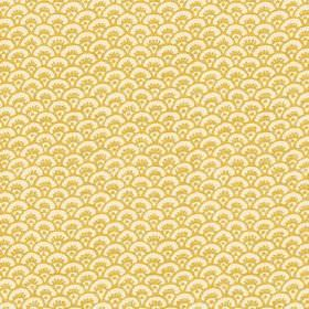Pasha Fan (Linen Union) - 4 - Light yellow linen fabric printed with a bright pattern of mustard yellow coloured arcs in the shape of fans