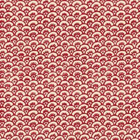 Pasha Fan (Linen Union) - 5 - Off-white linen fabric as a background for deep red arcs as a pattern
