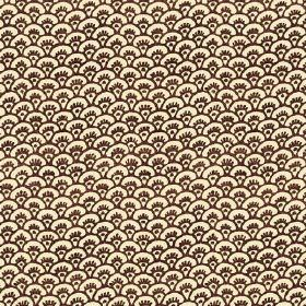 Pasha Fan (Linen Union) - 6 - Linen fabric with a repeated pattern of tiny fan shapes in pale cream-yellow and brown