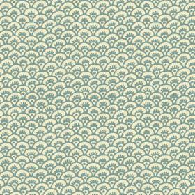 Pasha Fan (Cotton) - 7 - Cotton fabric in cream as a background for light blue-turquoise coloured fan shaped arcs