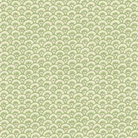 Pasha Fan (Linen Union) - 8 - Light green fan shaped arcs printed on fabric in cream coloured linen