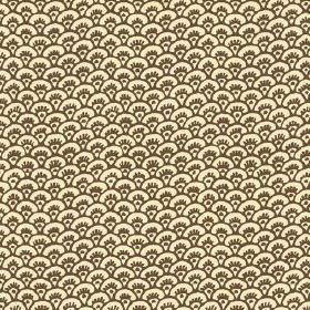 Pasha Fan (Cotton) - 9 - Dark brown fan shaped arcs printed repeatedly in rows over cotton fabric in cream