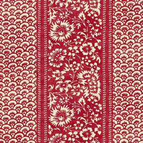 Pasha (Linen Union) - 5 - Floral and arc patterned linen fabric in cream and a deep red colour